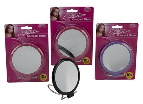 2 SIDED 10X MAGNIFYING 4 COMPACT MIRROR ON STAND by Glamour Connection