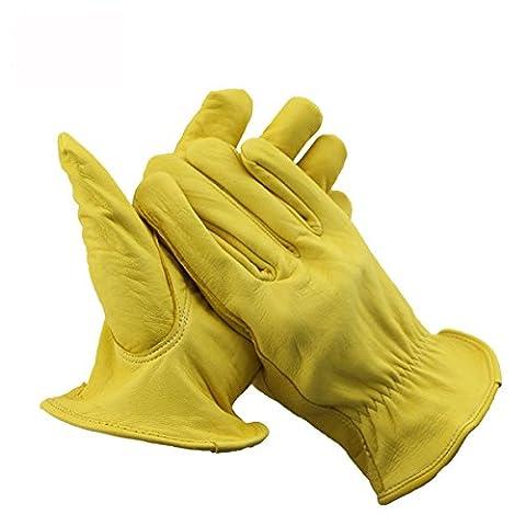 Arbeitshandschuhe Wildleder Leder Handschuhe für Herren und Frauen, Holz Schneiden, Motorrad, Fahren, Radfahren, Schweißen, Heavy Duty