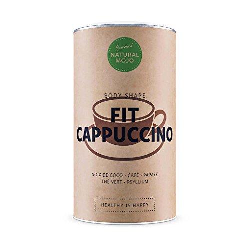 Natural Mojo Fit Cappuccino – shake minceur (480 g) – shaker protéiné riche en super-aliments – poudre protéinée faible en calories – cappuccino