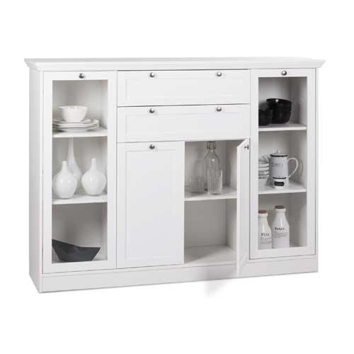 Highboard in weiß, 2 Vitrinentüren, 2 Schubkästen, 2 Türen, 4 schmale und 2 breite Einlegeböden, Maße: B/H/T ca. 160/120/40 cm - 2