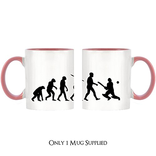 Evolution of Cricket Design Two-Tone Tasse mit rosa Griff & Innen -