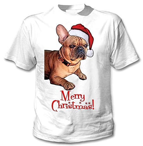 teesquare1st Merry Christmas French Bulldog Ginger Santa Camiseta Blanca para...
