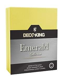 DecoKing 18743 Wasserbett Spannbettlaken 160 x 200 - 180 x  200 cm Jersey Baumwolle Spannbetttuch Emerald Collection, gelb