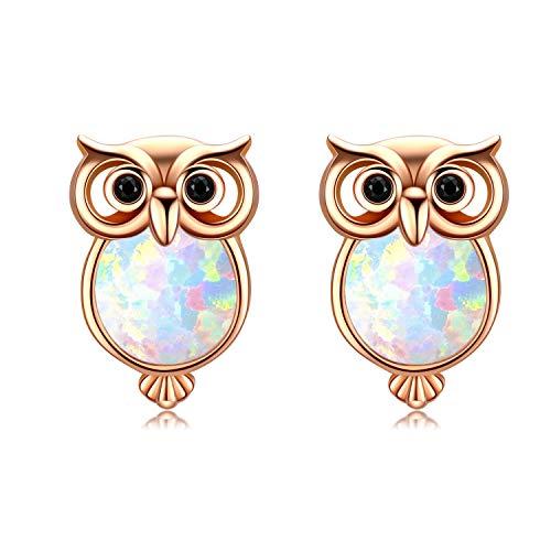Ohrringe Damen Eule Ohrstecker 925 Sterling Silbler Ohrschmuck Opal Ohrringe Ohrstecker Kindertag für Damen