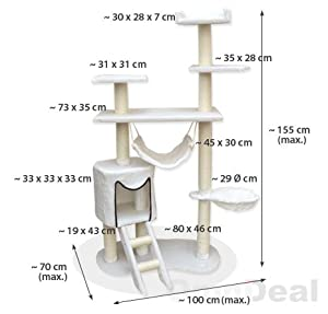 14038 Cat Tree Kitty White Incl. Uniquely Styled Cat Cave, Ladder, Multiple Levels and Plush Covered Cat Hammock from Eyepower