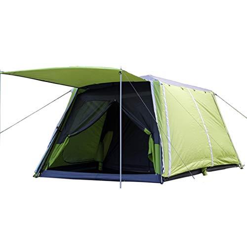 Linana Automatische doppelte Schicht wasserdichte Sonnencreme Zwei Räume 4-8 Personen Camping Family Zelt Rucksack Zelt (Color : Green) -