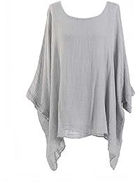 52c3548fe1f New Ladies Lagenlook Batwing Top Women Plain Linen Tunic Top Plus sizes