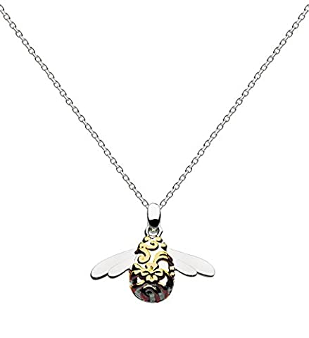 Kit Heath Sterling Silver and Gold Plate Bumble Bee Necklace of Length 45.7 cm