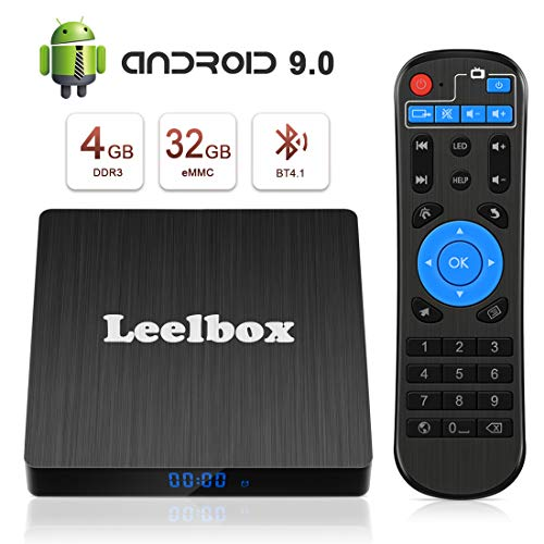 Android 9.0 TV Box - Leelbox Smart TV Box Q4 S 4 GB RAM & 32 GB ROM, Quad Core 64 bit Android Box Wi-Fi integrato/BT 4.1/ Box TV UHD 4K TV/USB 3.0 Media Player, Android Set-top-Box