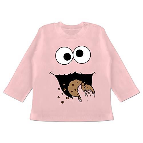 Karneval und Fasching Baby - Keks-Monster - 18-24 Monate - Babyrosa - BZ11 - Baby T-Shirt Langarm