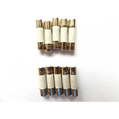 Fusible de 5 A 20 mm HBC contra sobretensiones/retardo de tiempo T5A H 250 V cerámica x10Pcs