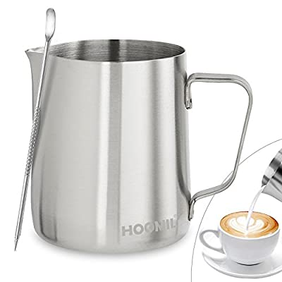 Milk Frothing Jug 350ml/600ml/9000ml (12oz/21oz/30oz) Stainless Steel Milk Pitcher Cup Barista Milk Jug and Latte Decorating Art Pen for Making Coffee Cappuccino Frothing Milk Coffee Machine