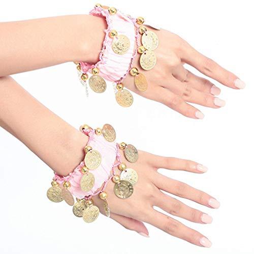 auchtanz Arm Manschette Handgelenk Armbänder, Bauchtanz Manschetten Armband mit 16 Goldenen Münzen Frauen Kostüm Zubehör für Tänzer, Pink ()