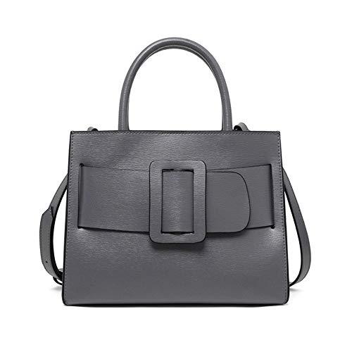 ue Tasche Weibliche Leder Damen Handtasche Rinde Diagonal Einfacher Stil Schulter Europäischen Und Amerikanischen Handtaschen (Color : Grey, Size : One Size) ()