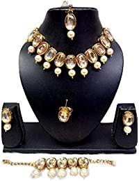 Apsara Art Jewellery Lagold Plated Glass Stones Studded Necklace Set With Pearl Drop In All Earring, Bracelet,...