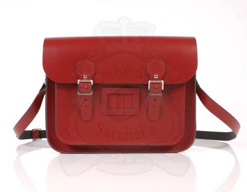 33.02 cm rot/Schultasche Umhängetasche Leder Englisch) (Leather Satchel Classic)