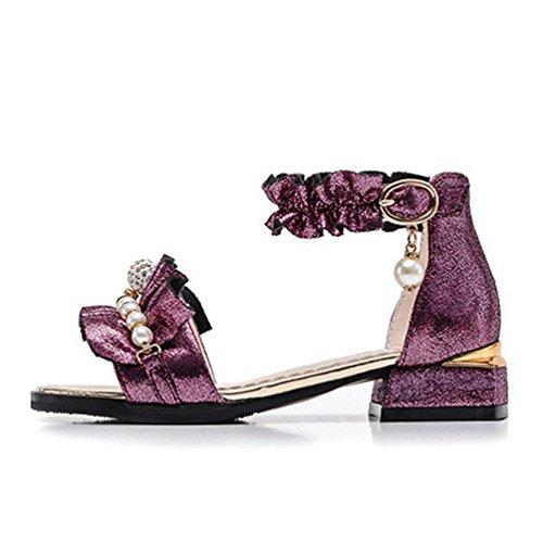 Girls Sommer Sandalen Metallic Offene Zehe Kleine Ferse Princess Dress Shoes (Kleinkind/Little Kid/Big Kid) (Für Dress Kleinkinder Princess Up-schuhe)