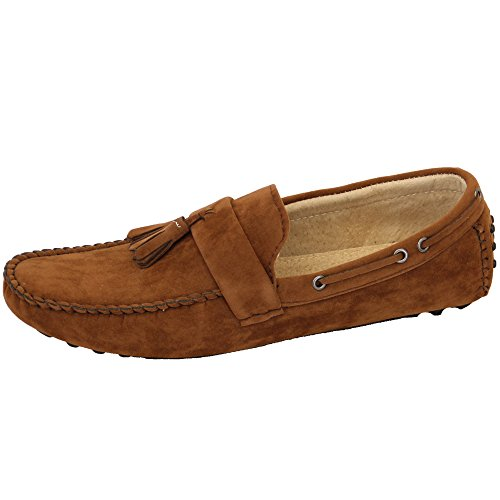 Herren Mokassins Wildleder Look Schuhe Boot Ohne Bügel Troddel Slipper Smart Formaler Camel - GH604