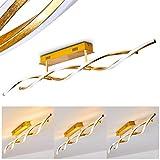 LED Deckenleuchte Imatro, dimmbare Deckenlampe aus Metall/Kunststoff in Gold, 2-flammig, 20,4 Watt, 2020 Lumen, Lichtfarbe 3000 Kelvin (warmweiß), modern in Blattgold-Optik
