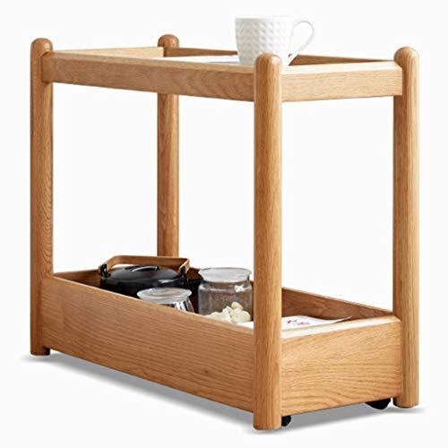 ZAQI Tavolino Salotto Soggiorno Giardino Tavolino Mobile con Ruote/Contenitore, Vetro Legno, tavolini da Salotto for Camera da Letto/dormitorio/Scuola Materna/Piccolo Spazio/Poltrona reclinabile,
