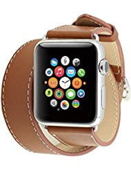 Spritech (TM), diseño de piel de repuesto de Elegance Watchband Barcelet doble correas banda muñequera con adaptador para Apple Watch, color marrón