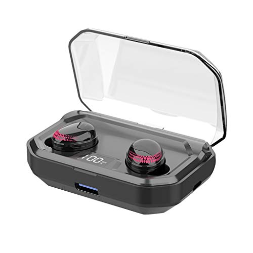 Glowjoy Wireless Earbuds,IPX7 Wasserfest Bluetooth Kopfhörer Kabellose Ohrhörer mit Ladebox,TWS Mini True Bluetooth 5.0 Stereo Earphone Bass In-Ear Headset,Sport Kopfhörer für Jogging (Rot)