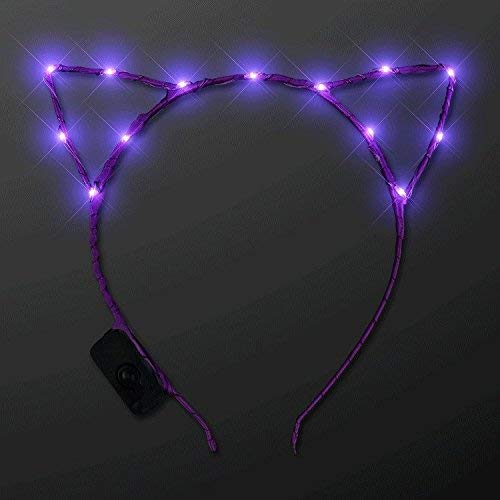 f99710d508 MODEOR Purple Midnight Kitty Ears. Adorabe Purple LED Light Up Costume  Orecchie a Pile Rave
