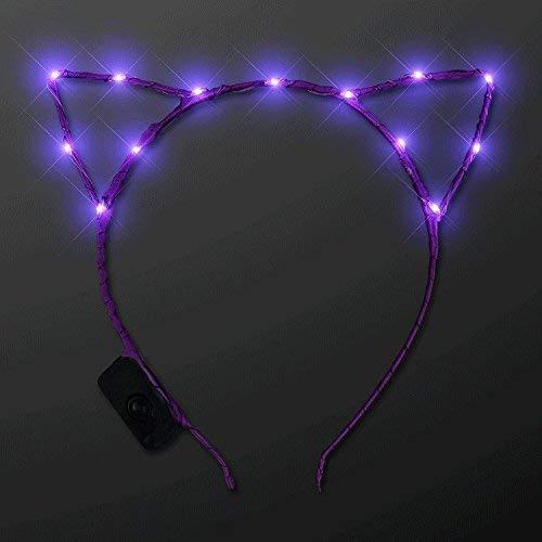 Kitty Ohren. Adorabe Purple LED Light Up Costume Ears batteriebetriebene begeisterte LED-Stirnband Meow mit 70er-Jahre-Mood-Ring und Chart-Combo-Kit ()