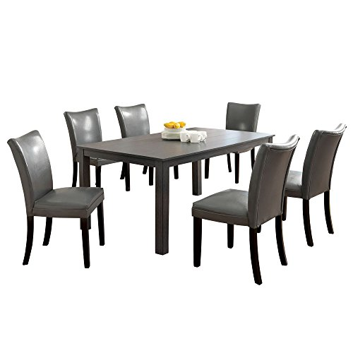 Afydecor Six Seater Dining Set with Chunky Pedestal Base - Brown