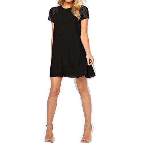 BigForest Damen casual scoop neck lace sleeve chiffon mini dress Black