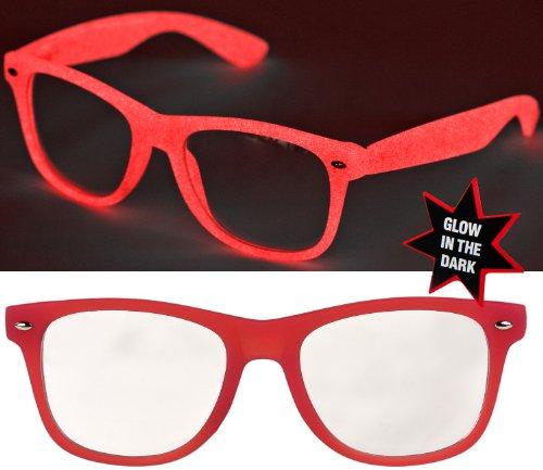 Nerd Glow Brille Wayfarer Leuchtend / Farbe wählbar: Farbe: Klarglas (Brille Farben Nerd)