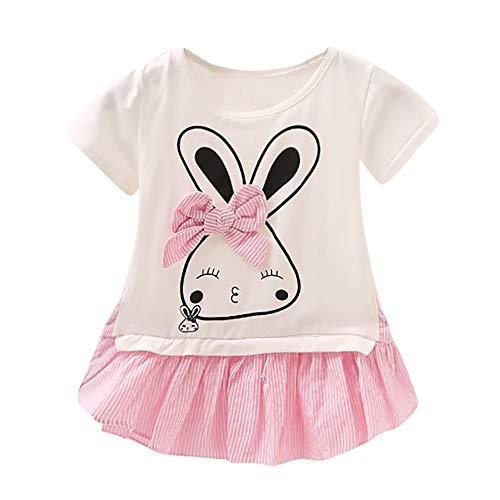JUTOO Neugeborenes Kleinkind-Baby-Kaninchen-Kaninchen-Bowknot-gestreifte beiläufige Kleid-Kleidung (Rosa,L)