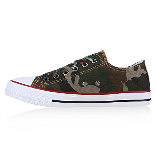 Herren Sneakers | Freizeitschuhe Sportschuhe | Schnürer Stoffschuhe |Fitness Streetstyle | viele Farben Camouflage Rot