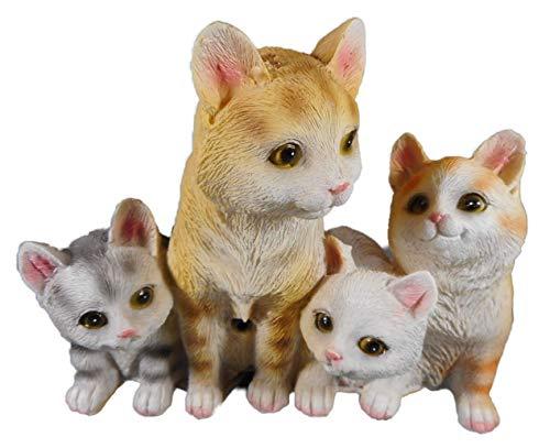 Bewegungsmelder Katze Familie 14 x 18 cm Katzen Cat Tier Figur Deko GODE C71