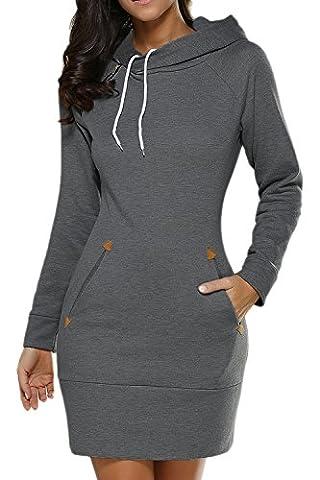 Frauen Im Herbst Lässige Ärmel Slim Midi - Kapuzenpulli Sweatshirt Kleid Mit Tunnelzug Und Größe Darkgrey M