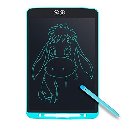 Tyhbelle Teilweise Löschbares Writing Tablet,12 Zoll Elektronisch LCD Schreibtafel mit Anti-Clearance Funktion,Stift papierlos für Schreiben Malen Notizen Super als Geschenke (Hellblau) (2 Zeile Lcd)