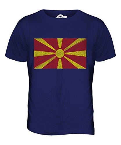 CandyMix Mazedonien Kritzelte Flagge Herren T Shirt Navy Blau