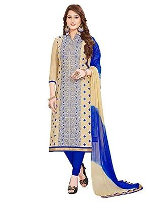 Ishin Cotton Beige & Navy Blue Embroidered Unstitched Salwar Suit Dress Material (Anarkali/Patiyala) With Chiffon Dupatta
