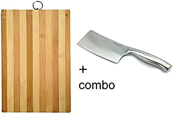 Arrison Bamboo Wooden Cutting Chopping Board with Big Chef's Chopping Knife