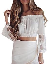 HX fashion Donna Crop Top Eleganti Spalla di Parola Filato Netto Giuntura Camicia  Manica Lunga Senza Spalline Puro… 5cc5db62b04