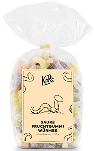 KoRo - Saure Fruchtgummi Würmer 500 g - Süßigkeiten ohne Gelatine, Vegan und vegetarisch, der optimale süß saure Snack