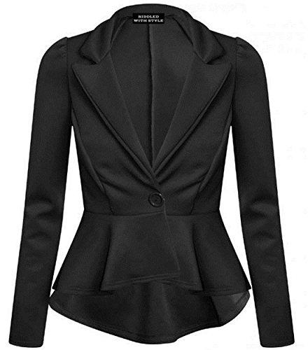 Purple Hanger - Damen Langer Arm Taillierte Schößchen Jacke Enggeschnitten Rüschenblazer - 38, Schwarz Luxe Blouson