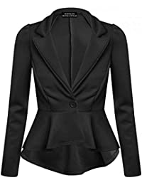 RIDDLED WITH STYLE™ Womens Crop Peplum Frill Blazer Work Office Jacket Ladies Womens Coat Tops