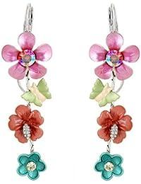 Glamorousky Rosa Und Blauen Blume Ohrringe Mit Rosa Und Silber Austrian Elementkristallen (789)