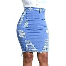 621dd481e Hopin Falda Vaquera Ajustada de Jeans Vaqueros Ajustados para Mujer