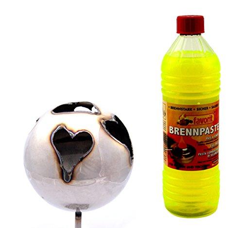 feuerkugel edelstahl Gartenfackel Feuerkugel – Herz 13cm Durchmesser + 1Liter Brennpaste