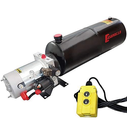 Hydraulikaggregat, Hydraulikpumpe 12 V 180 bar 2000 Watt mit 12 Liter Stahtank und Kabelfernbedienung