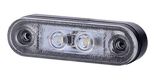 1 x 2 SMD LED Weiß Begrenzungsleuchte mit Gummi-Pad 12V 24V mit E-Prüfzeichen Seitenleuchte Umrissleuchte Anhänger Wohnwagen Auto LKW PKW Licht