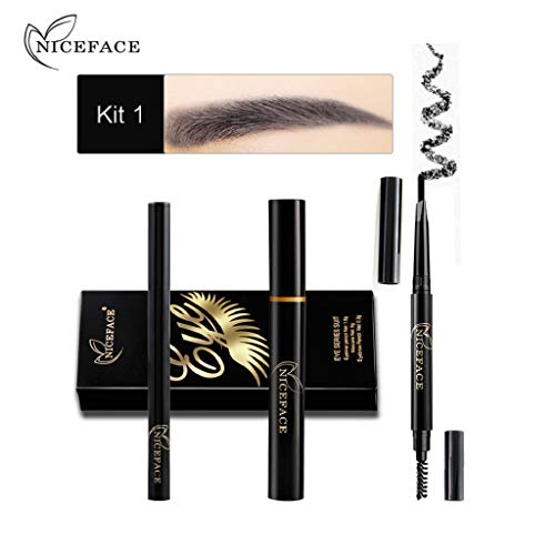 Trydoit 1 Set Maquillage des Yeux Combinaison Eyeliner Mascara Crayon À Sourcils Noir Étanche Mascara Waterproof Noir