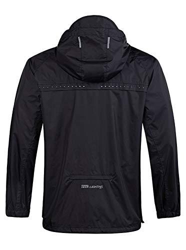 SwissWell Herren Regenanzug wasserdicht leicht mit Kapuze Regenbekleidung für Golf, Wandern, Reisen (Jacke & Hose-Anzug) - Schwarz - X-Groß